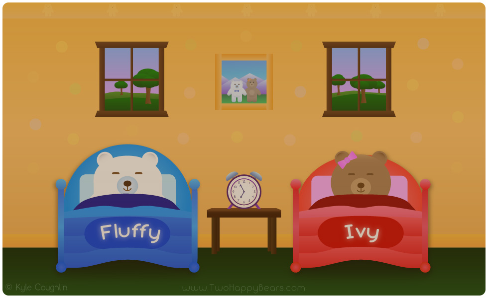 Learn the letter A. The two happy bears show that the word Asleep begins with the letter A.
