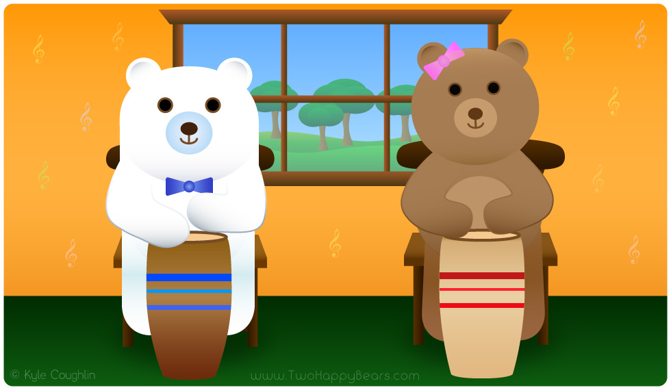 Learn the letter D. The Two Happy Bears show that drum begins with the letter D.