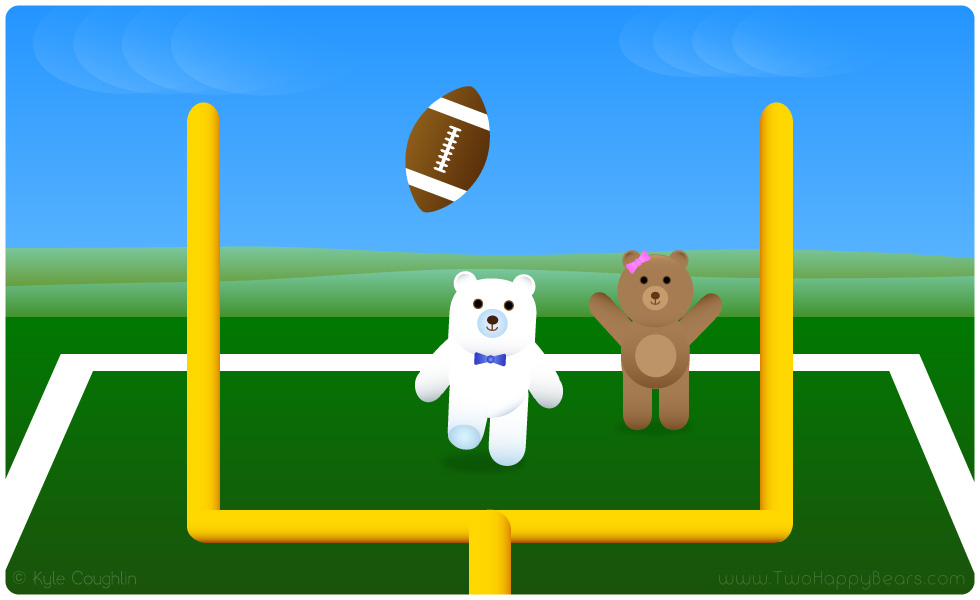 Learn the letter F. The Two Happy Bears are playing football, which begins with the letter F.
