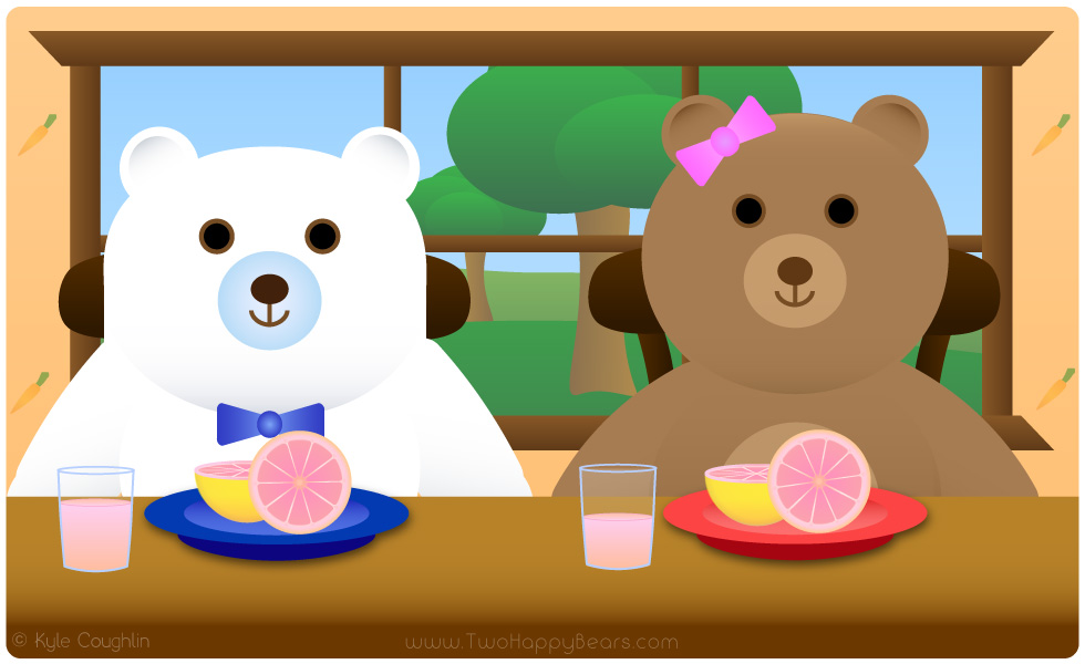 Learn the letter G. The Two Happy Bears are eating grapefruit, which begins with the letter G.