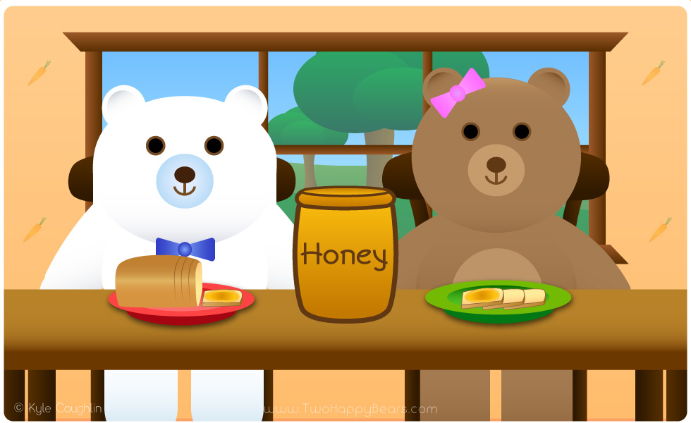 Learn the letter H. The Two Happy Bears are eating honey, which begins with the letter H.