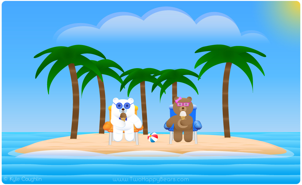 Learn the letter I. The Two Happy Bears are eating ice cream, which begins with the letter I.