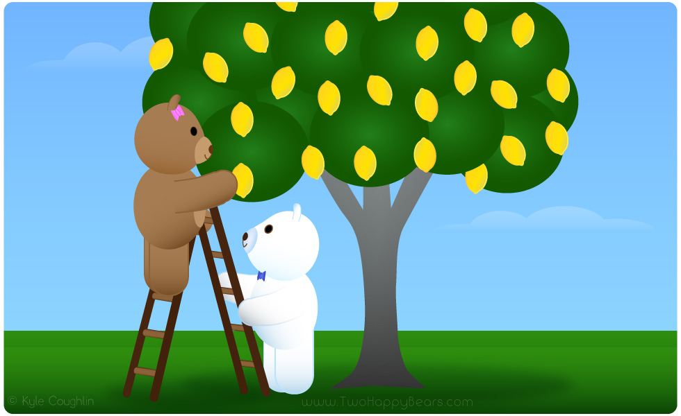 Learn the letter L. The Two Happy Bears are using a ladder to pick lemons. Ladder and lemon begin with the letter L.