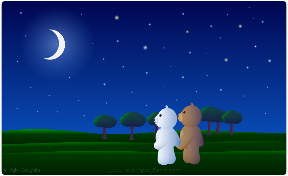 Learn the letter N. The Two Happy Bears are taking a walk at night. Night begins with the letter N.