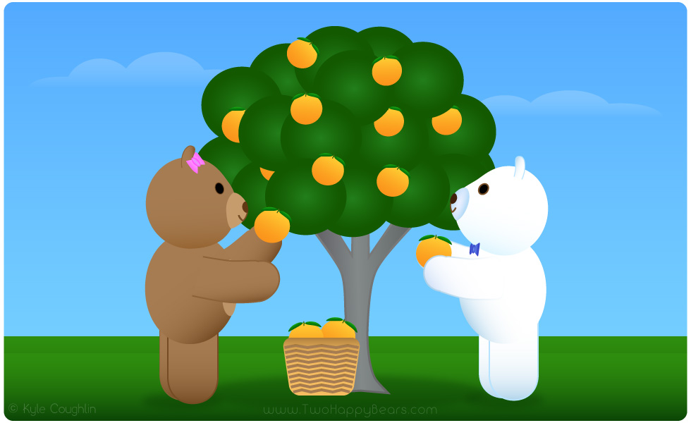 Learn the letter O. The Two Happy Bears are picking oranges. Orange begins with the letter O.