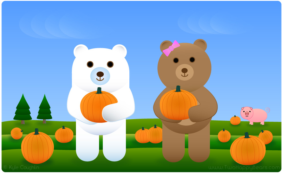 Fluffy and Ivy are looking for words that begin with letter P, and picking pumpkins with piggy