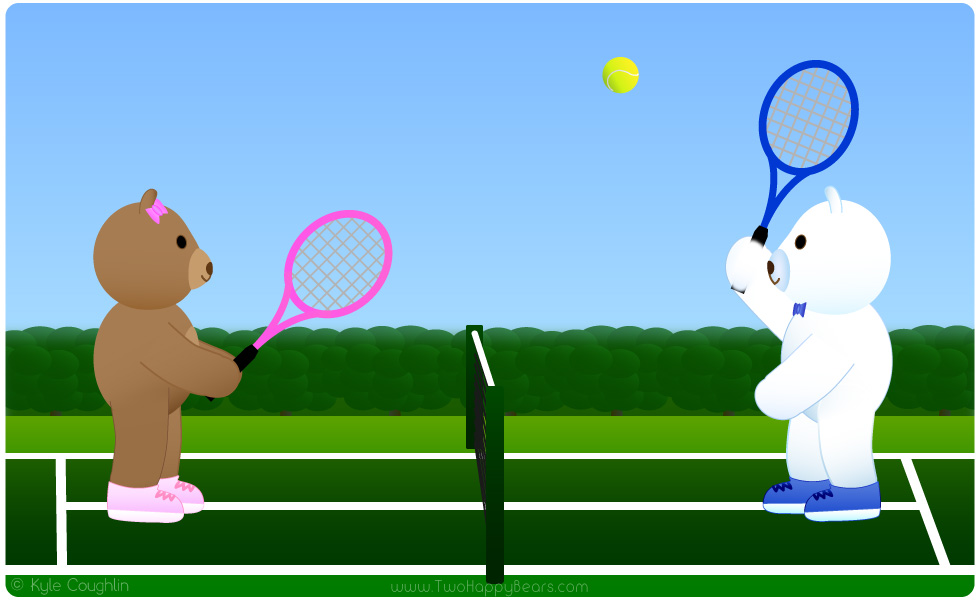 Learn the letter T. The Two Happy Bears are playing tennis. Tennis begins with the letter T.