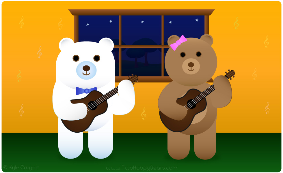 Learn the letter U. The Two Happy Bears are playing the ukulele. Ukulele begins with the letter U.