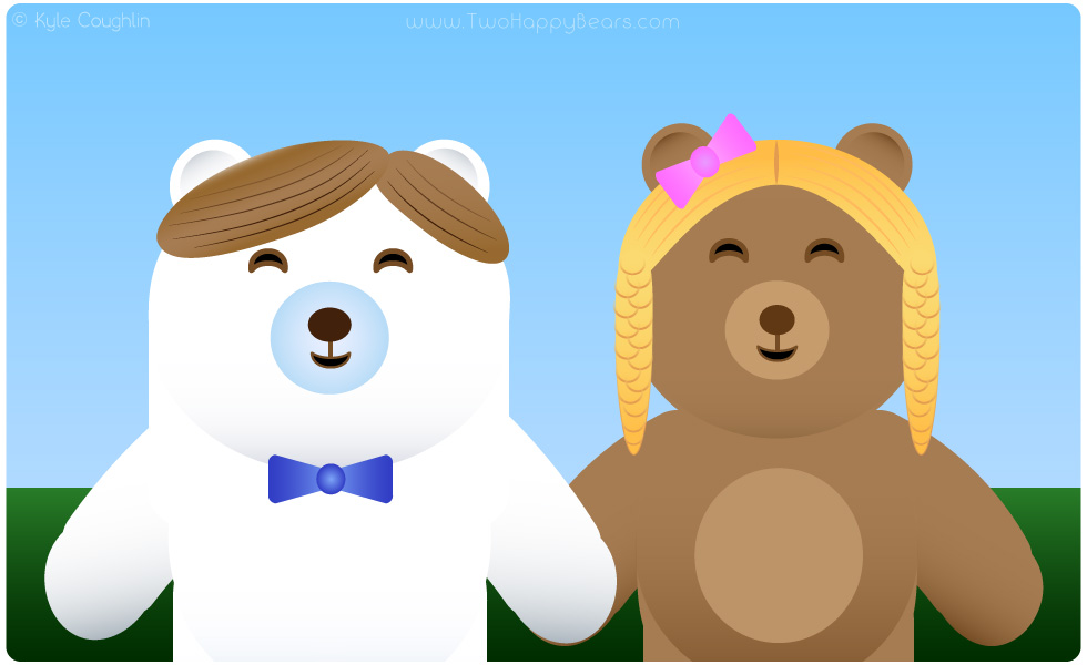 Learn the letter W. The Two Happy Bears are wearing wigs. Wig begins with the letter W.