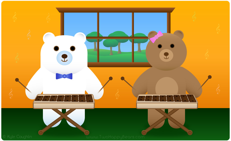 Learn the letter X. The Two Happy Bears are playing the xylophone. Xylophone begins with the letter X.