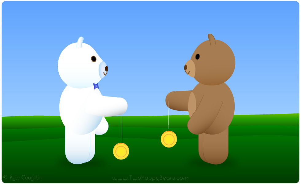 Learn the letter Y. The Two Happy Bears are playing with their yo-yos. Yo-yo begins with the letter Y.