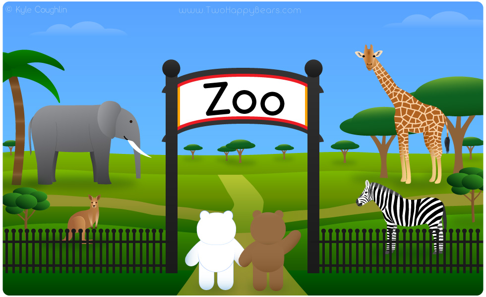 Learn the letter Z. The Two Happy Bears are visiting the zoo. Zoo begins with the letter Z.