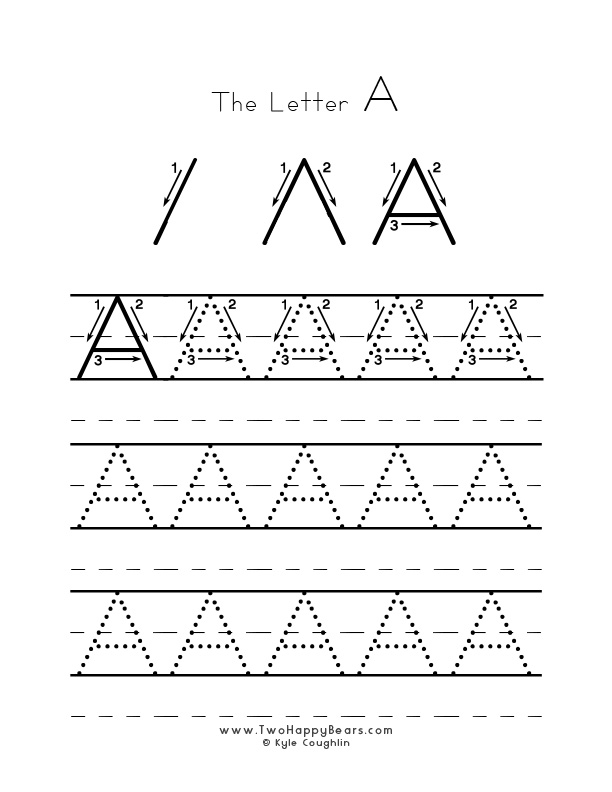 Practice worksheet for writing the letter A, upper case, with several connect the dots examples to trace, in free printable PDF format.