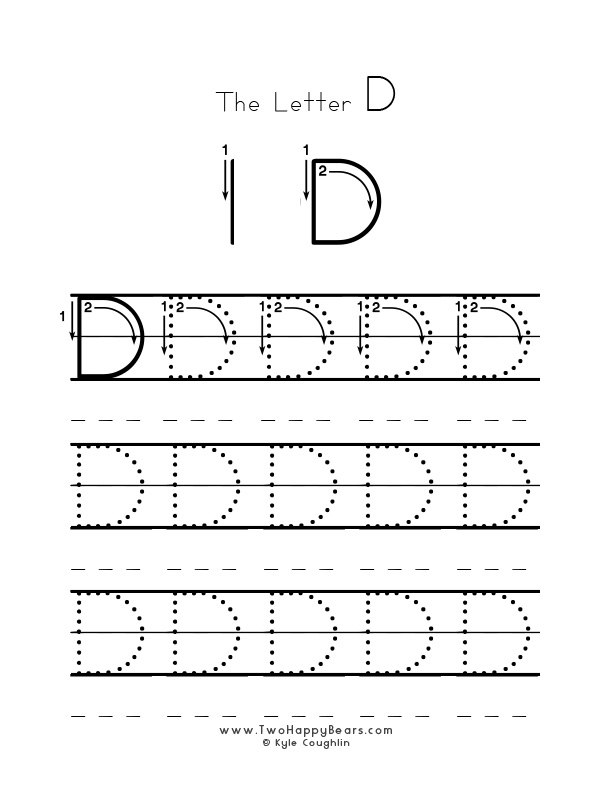 Practice worksheet for writing the letter D, upper case, with several connect the dots examples to trace, in free printable PDF format.