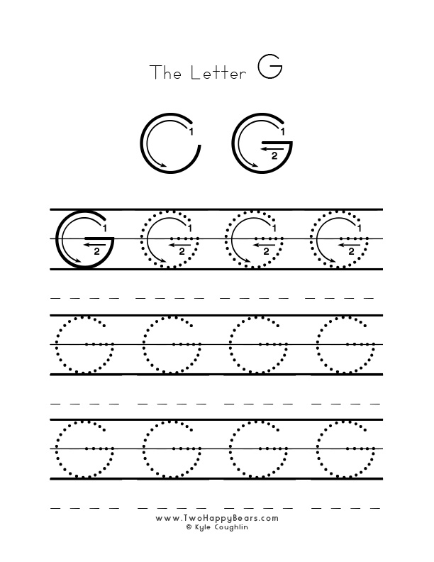 Practice worksheet for writing the letter G, upper case, with several connect the dots examples to trace, in free printable PDF format.