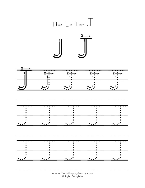 Practice worksheet for writing the letter J, upper case, with several connect the dots examples to trace, in free printable PDF format.