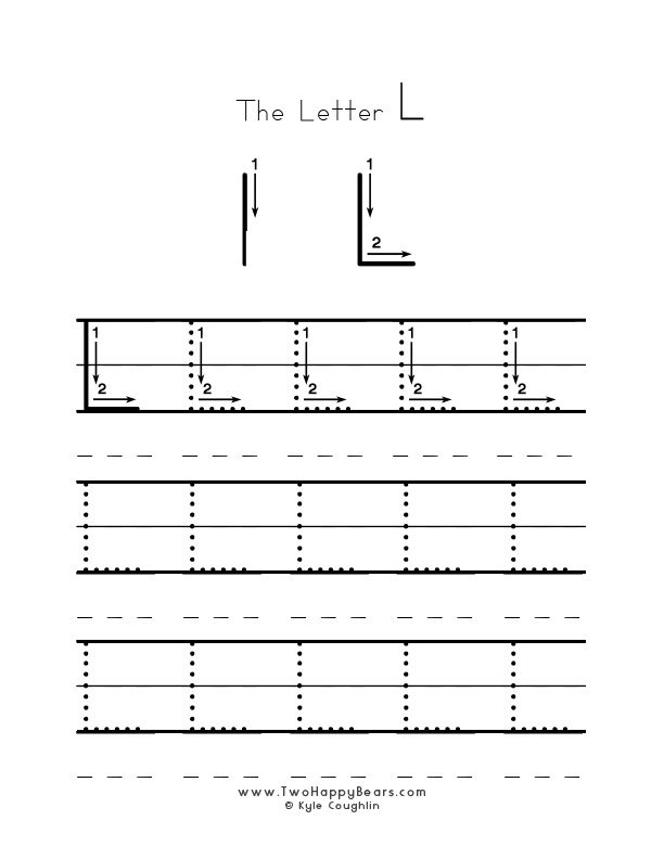 Practice worksheet for writing the letter L, upper case, with several connect the dots examples to trace, in free printable PDF format.