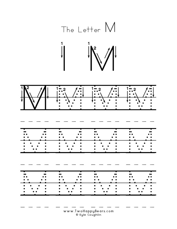 Practice worksheet for writing the letter M, upper case, with several connect the dots examples to trace, in free printable PDF format.