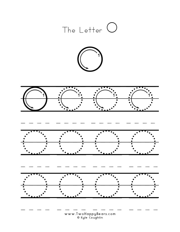 Practice worksheet for writing the letter O, upper case, with several connect the dots examples to trace, in free printable PDF format.