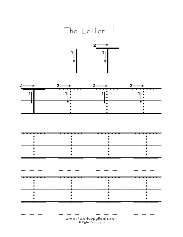 Practice worksheet for writing the letter T, upper case, with several connect the dots examples to trace, in free printable PDF format.