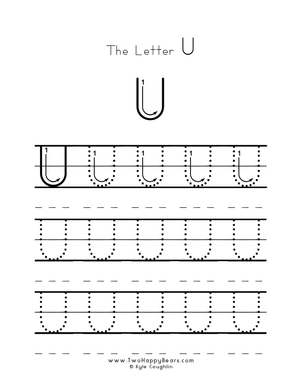 Practice worksheet for writing the letter U, upper case, with several connect the dots examples to trace, in free printable PDF format.