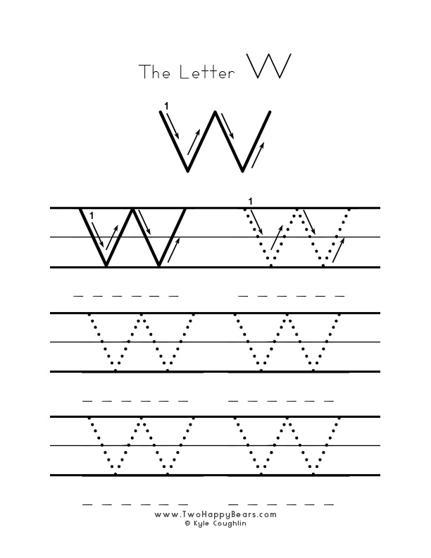 Practice worksheet for writing the letter W, upper case, with several connect the dots examples to trace, in free printable PDF format.
