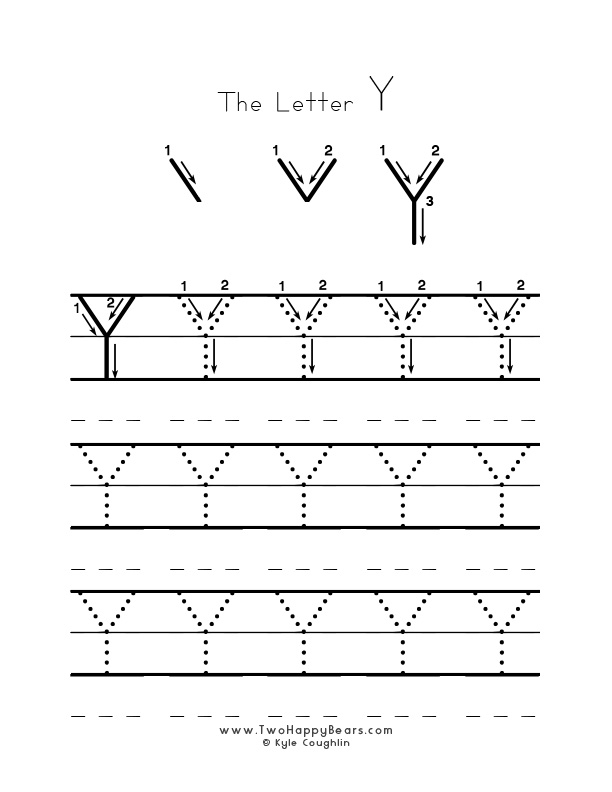 Practice worksheet for writing the letter Y, upper case, with several connect the dots examples to trace, in free printable PDF format.