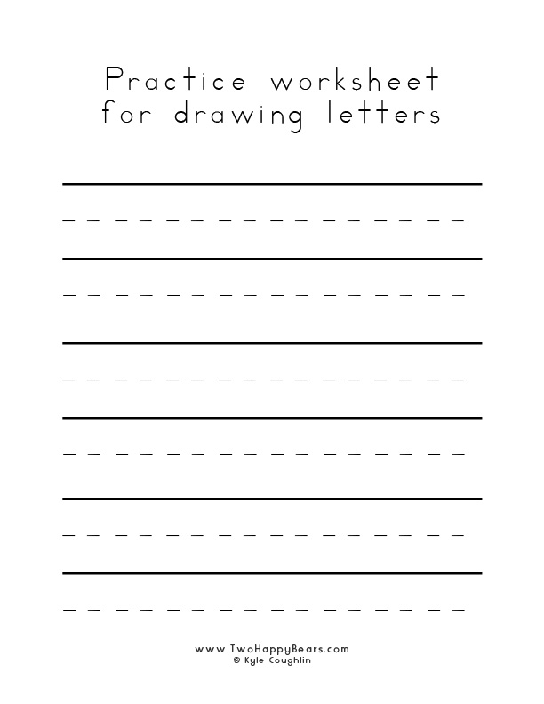 Blank worksheet to practice drawing letters, in free printable PDF format.