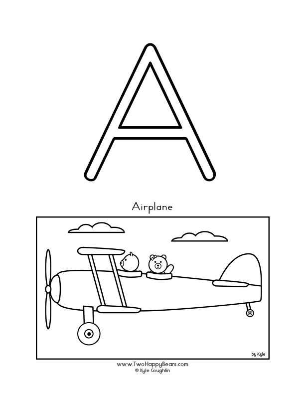 Color the letter A, upper case, and color the Two Happy Bears as they fly in an airplane.  Free printable PDF.