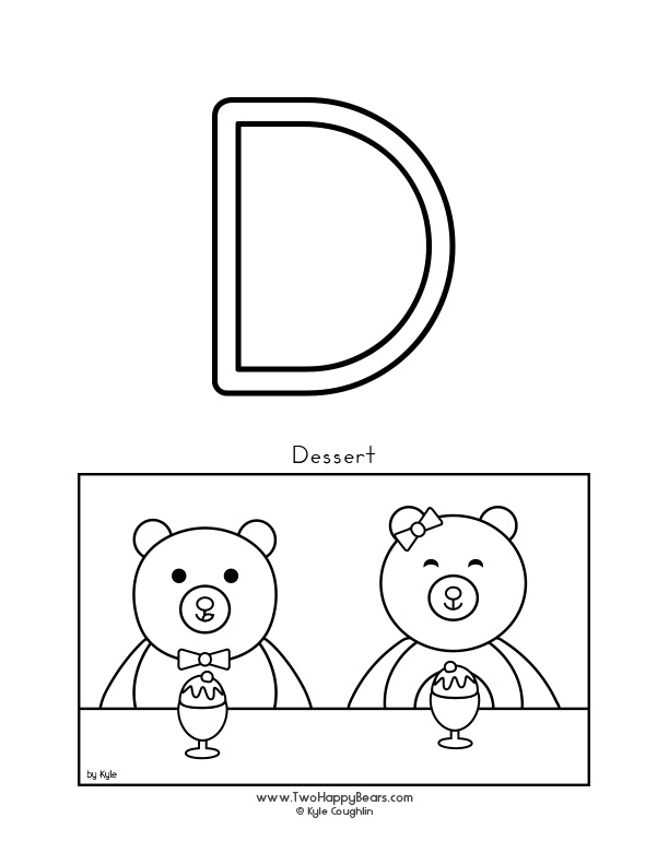 Color the letter D, upper case, and color the Two Happy Bears as they get ready to eat dessert. Free printable PDF.