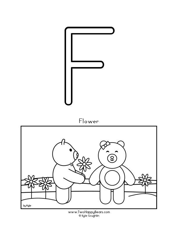 Color the letter F, upper case, and color the Two Happy Bears as they give each other flowers. Free printable PDF.