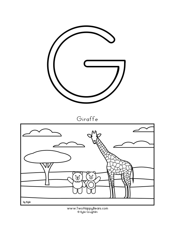 Color the letter G, upper case, and color the Two Happy Bears and their giraffe friend. Free printable PDF.