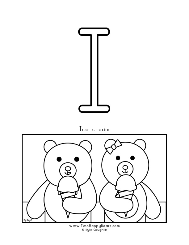 Color the letter I, upper case, and color the Two Happy Bears eating ice cream.  Free printable PDF.