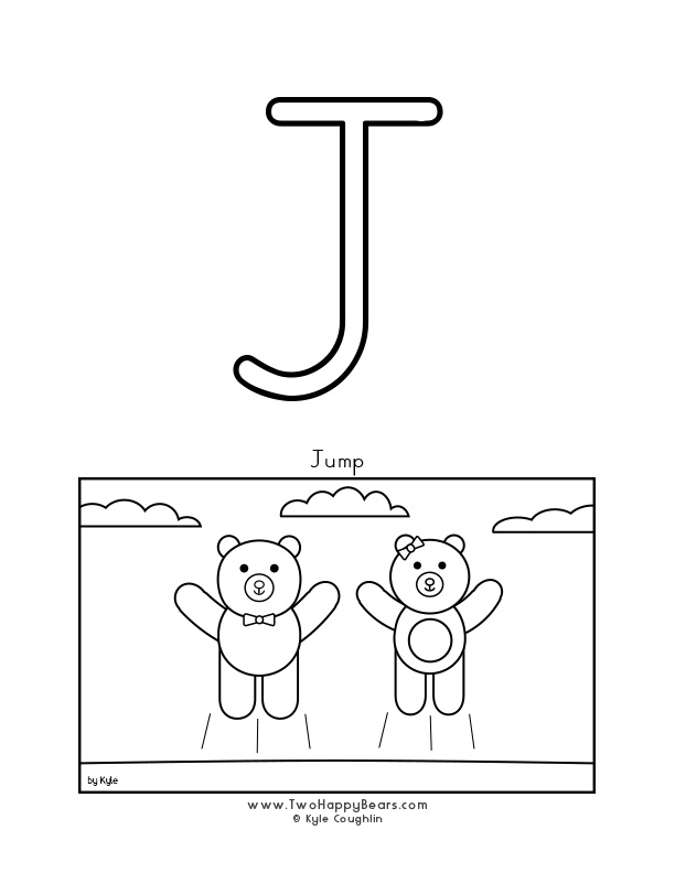 Color the letter J, upper case, and color the Two Happy Bears jumping. Free printable PDF.