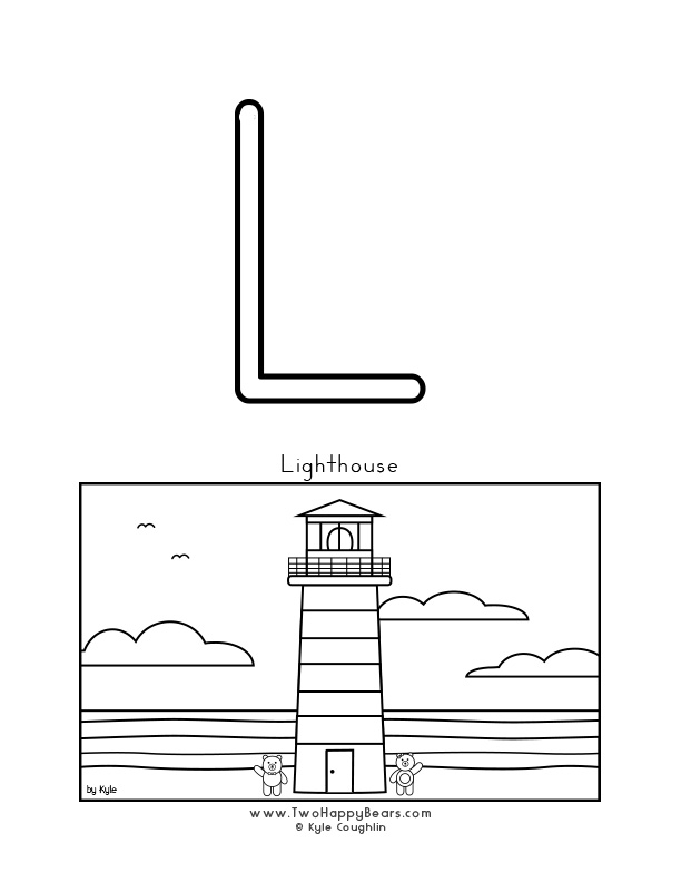 Color the letter L, upper case, and color the Two Happy Bears at a lighthouse. Free printable PDF.