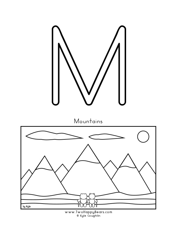 Color the letter M, upper case, and color the Two Happy Bears in front of mountains. Free printable PDF.