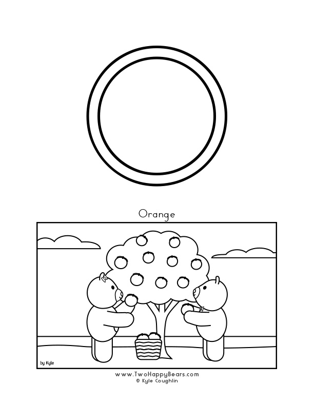Color the letter O, upper case, and color the Two Happy Bears picking oranges. Free printable PDF.