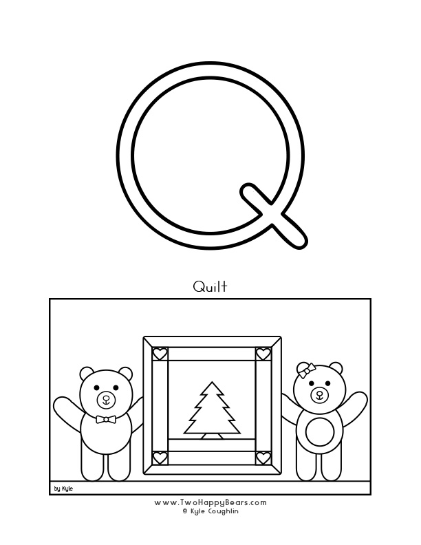 Color the letter Q, upper case, and color the Two Happy Bears sleeping quietly under their quilts. Free printable PDF.