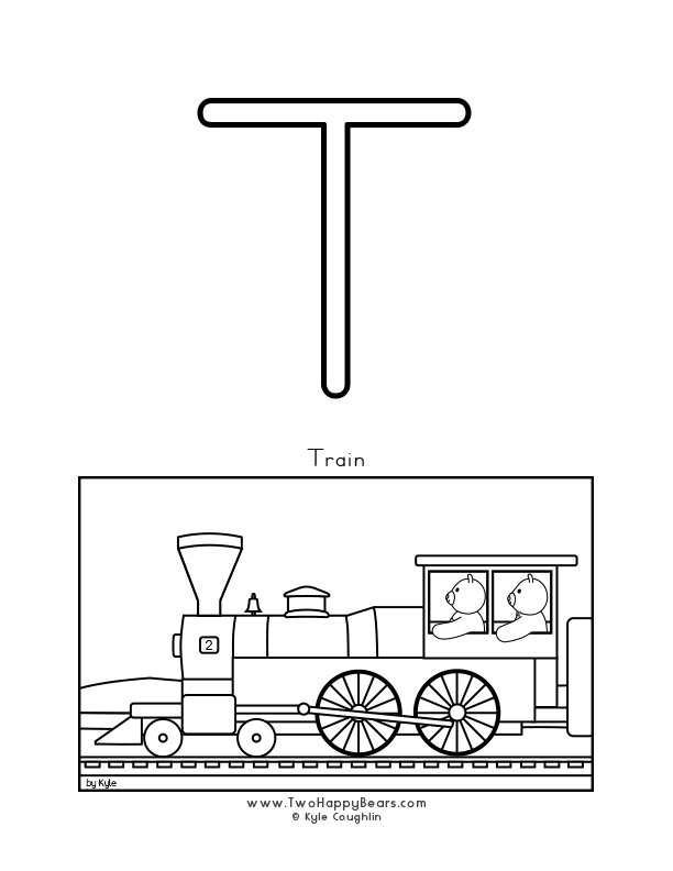 Color the letter T, upper case, and color the Two Happy Bears on a train. Free printable PDF.