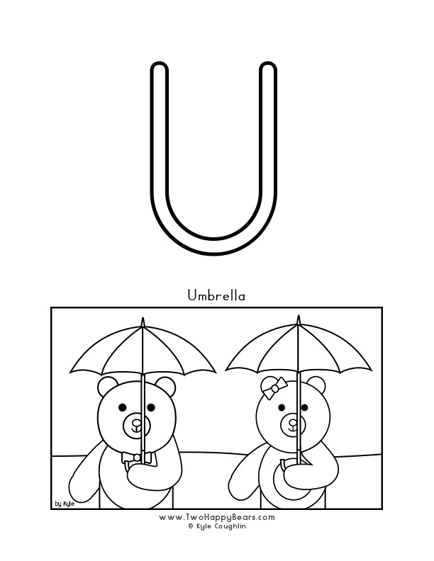 Color the letter U, upper case, and color the Two Happy Bears holding their umbrellas. Free printable PDF.