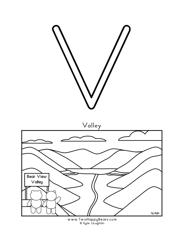 Color the letter V, upper case, and color the Two Happy Bears viewing a valley. Free printable PDF.