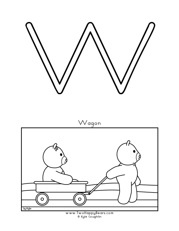 Color the letter W, upper case, and color the Two Happy Bears and their wagon. Free printable PDF.