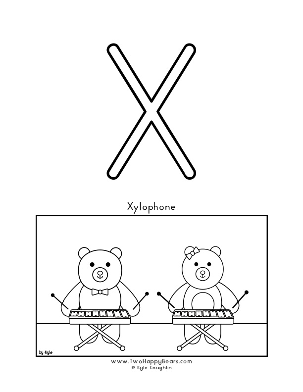 Color the letter X, upper case, and color the Two Happy Bears playing the xylophone. Free printable PDF.