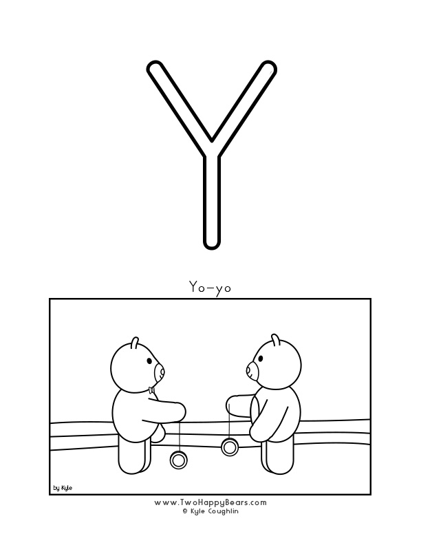 Color the letter Y, upper case, and color the Two Happy Bears playing with yo-yos. Free printable PDF.
