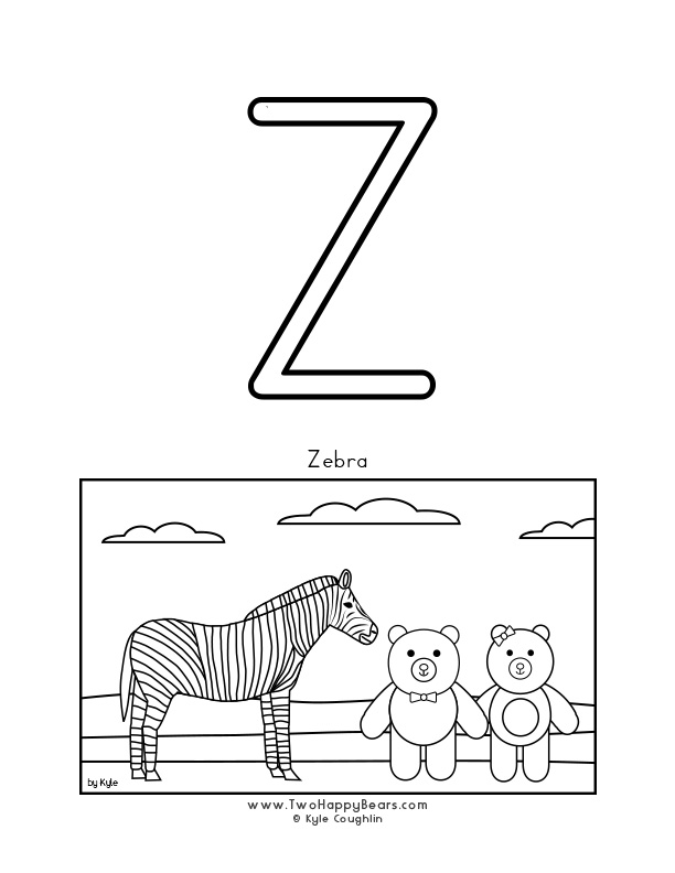 Color the letter Z, upper case, and color the Two Happy Bears visiting a zebra. Free printable PDF.