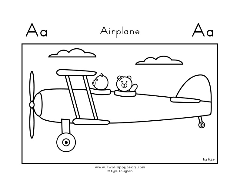 Coloring page for learning the letter A, with a picture of an airplane and Two Happy Bears, in a large landscape view, in free printable PDF format.