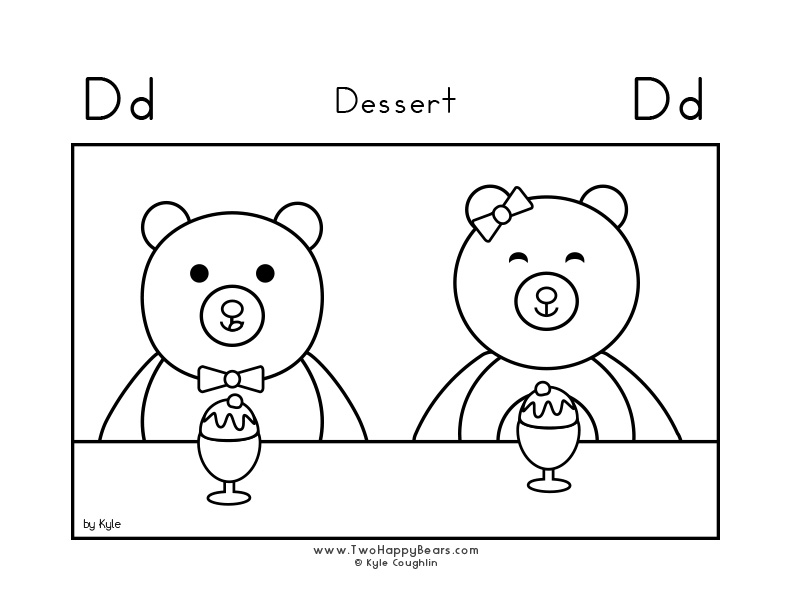 Coloring page for learning the letter D, with a picture of the Two Happy Bears getting ready to eat dessert, in a large landscape view, in free printable PDF format.