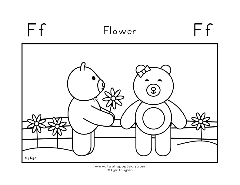 Coloring page for learning the letter F, with a picture of Fluffy giving Ivy a flower, in a large landscape view, in free printable PDF format.