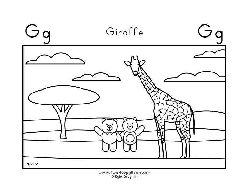Coloring page for learning the letter G, with a picture of Fluffy and Ivy visiting a giraffe, in a large landscape view, in free printable PDF format.
