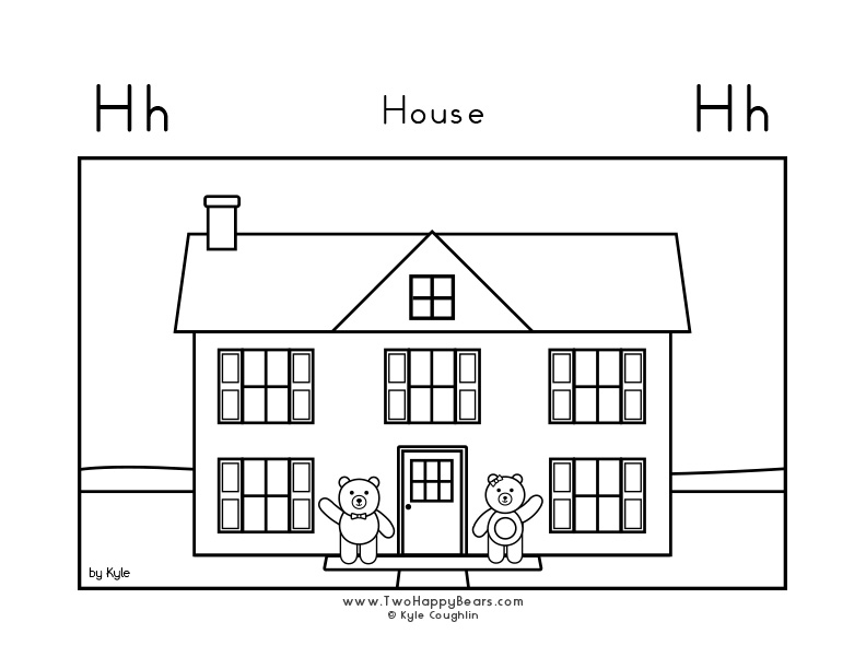 Coloring page for learning the letter H, with a picture of Fluffy and Ivy standing outside their house, in a large landscape view, in free printable PDF format.